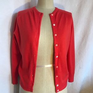 Vintage PURE CASHMERE red 3/4 sleeve cardigan